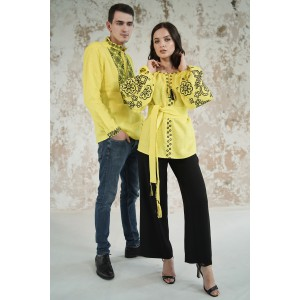 "Embroidered Man&Woman Set ""Lacy Dreams"" yellow"