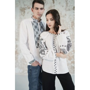 "Embroidered Man&Woman Set ""Lacy Dreams"" white/black"