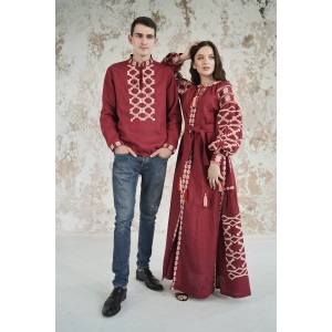 "Embroidered Man&Woman Set ""Grace"" maroon"