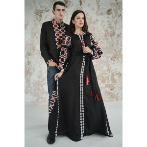"Embroidered Man&Woman Set ""Grace"" black"