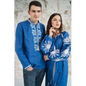 "Embroidered Man&Woman Set ""Fantasy"" electric blue"