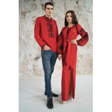 "Embroidered Man&Woman Set ""Fantasy"" red"