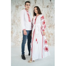 "Embroidered Man&Woman Set ""Fantasy"" white/red"
