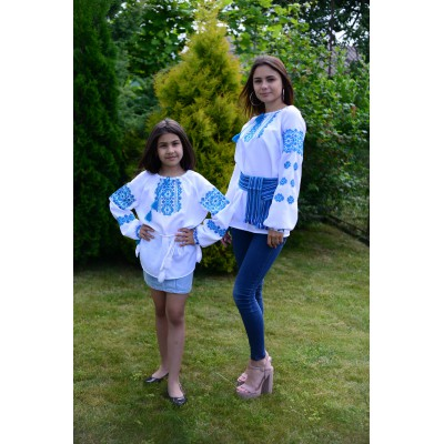 "Embroidered Complect Mother and Daughter ""Sky Blue"""