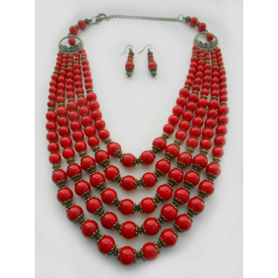 Necklace Namysto and earrings of real corals 5 threads