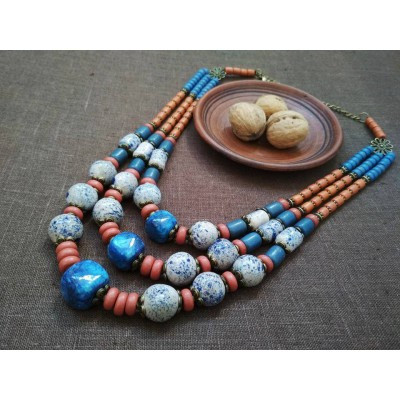 Necklace Patsyorka of ceramic beads colourful mix 3 threads