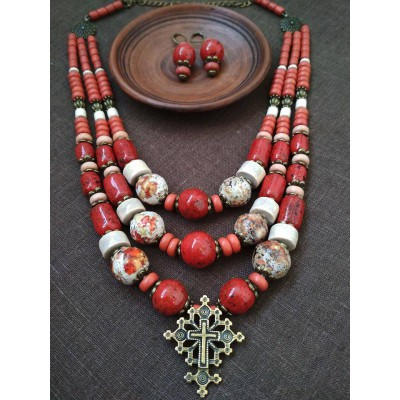 Necklace Zgarda of red/white ceramic beads and cross