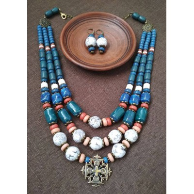 Necklace Zgarda of blue/white ceramic beads and cross