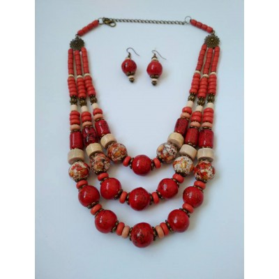 Necklace Patsyorka and earrings of ceramic beads red 3 threads
