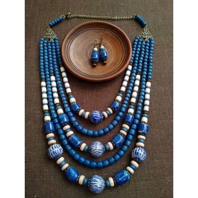 Necklace Korali of ceramic beads blue mix 5 threads