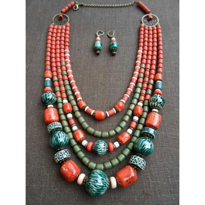 Necklace Korali of ceramic beads exotic mix 5 threads