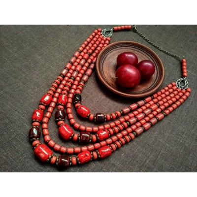 Necklace Korali of ceramic beads red mix 5 threads