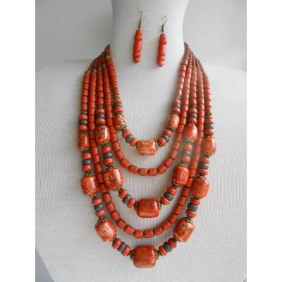 Necklace Korali of ceramic beads orange mix 5 threads