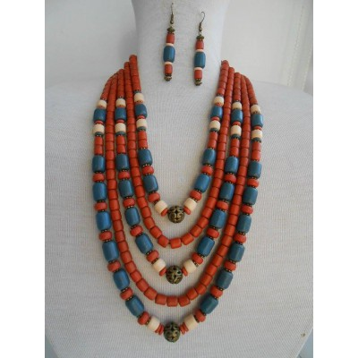 Necklace Korali of ceramic beads red/gray 5 threads