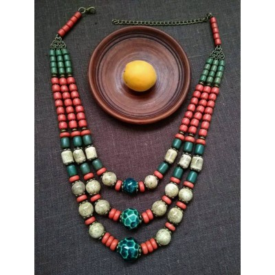 Necklace Patsyorka of ceramic beads colourful 3 threads
