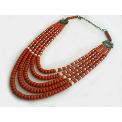 Necklace Korali of ceramic beads red 5 threads 2