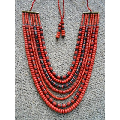 Necklace Korali of ceramic beads red/black 7 threads