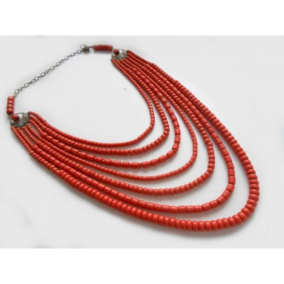 Necklace Korali of ceramic beads red 7 threads