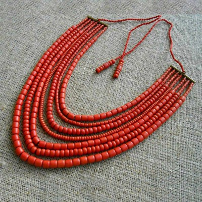 Necklace Korali of ceramic beads red 7 threads 2