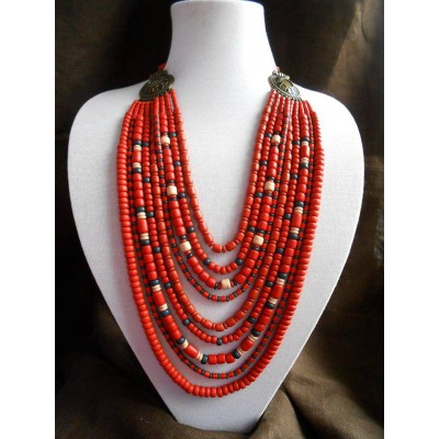 Necklace Korali of ceramic beads red/black 9 threads 2