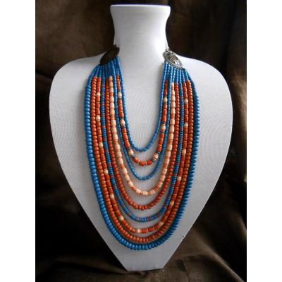 Necklace Korali of ceramic beads blue/orange 9 threads