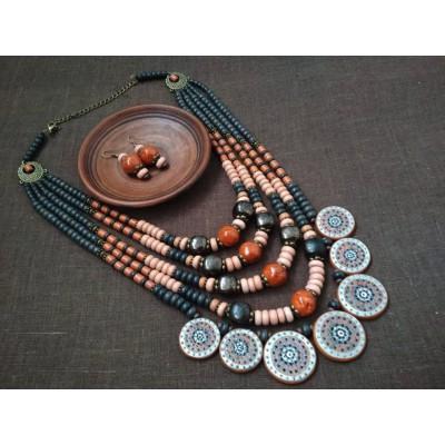 Necklace Dukati of ceramic beads blue/orange