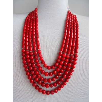 Necklace Namysto of real corals 5 threads