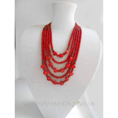 Necklace Namysto of real different size corals 5 threads