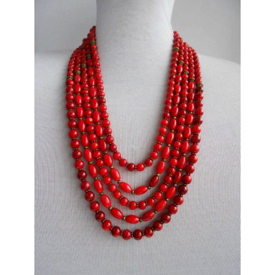 Necklace Namysto of real different size corals 5 threads 2