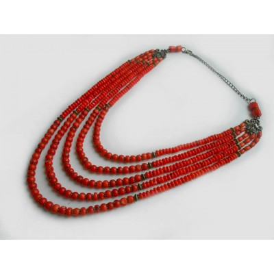 Necklace Namysto of real round corals 5 threads