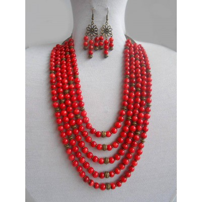 Necklace Namysto and earrings of real round corals 5 threads