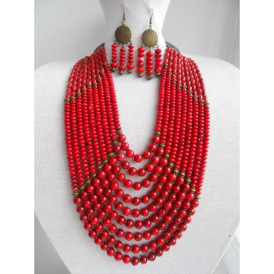Necklace Namysto and earrings of real round corals 9 threads