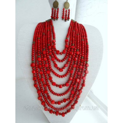 Necklace Namysto and earrings of real different shape corals 9 threads