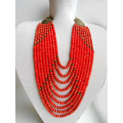 Necklace Namysto of real round corals 9 threads
