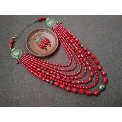 Necklace Namysto and earrings of real big shaped corals 7 threads
