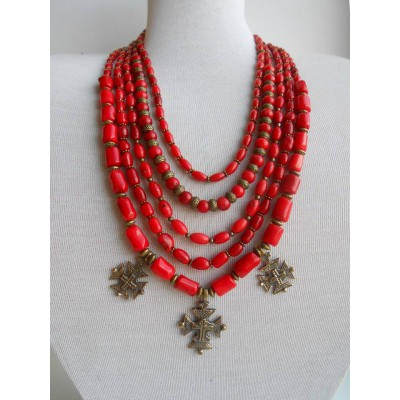 Necklace Namysto of real corals with bronze decoration 5 threads