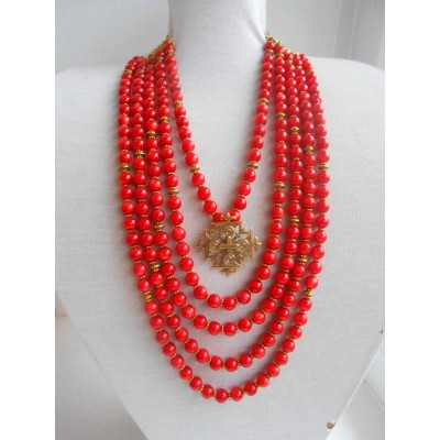 Necklace Namysto of real corals with bronze cross 5 threads