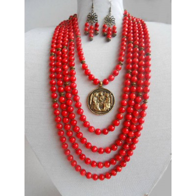 Necklace Namysto and earrings of real corals with bronze decoration 5 threads