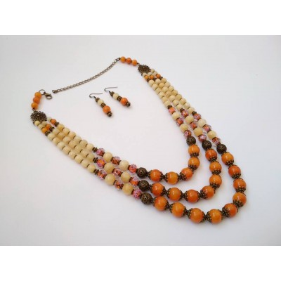 Necklace Patsyorka and earrings of onyx gemstone 3 threads