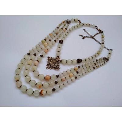 Necklace set Zgarda of white onyx natural gemstone and pendant 3+1 threads