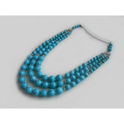 Necklace Namysto of pressed turquoise with medallion set 3 threads