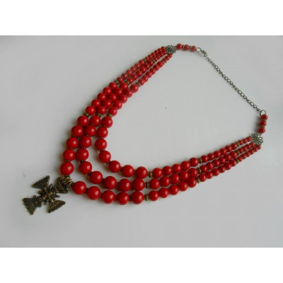 Necklace Zgarda of pressed corals with cross 3 threads