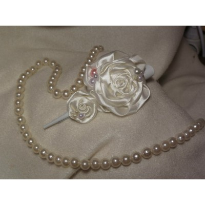 "Hairclip ""White Rose"""