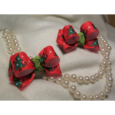 "Hairclip (pair) ""Christmas Bows"""
