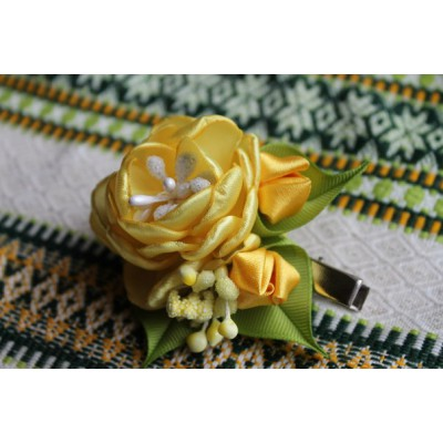 "Hairclip ""Yellow Rose"""