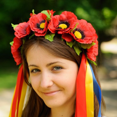 """Ukrainian Wreath """"Poppies with colorful ribbons"""""""