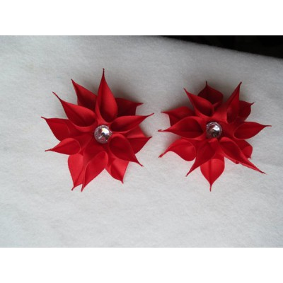 "Hairclip (pair) ""Red Dahilas"""