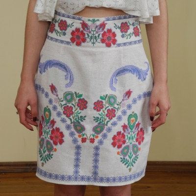 """Arezou"" SS17 Embroidered Mini Skirt"