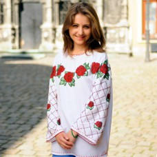 "Beads Embroidered Blouse ""Rose Garden"""