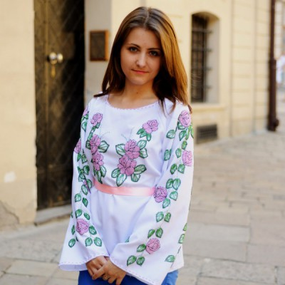 "Beads Embroidered Blouse ""Violet Roses"""